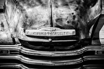 Chevrolet Truck Photograph - Chevrolet Truck Grille Emblem -0839bw1 by Jill Reger
