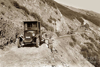 Photograph - Chevrolet Truck On Highway One Big Sur  California 1926 by California Views Mr Pat Hathaway Archives