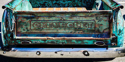 Chevy Truck Photograph - Chevrolet Truck Tail Gate Emblem -0839c by Jill Reger
