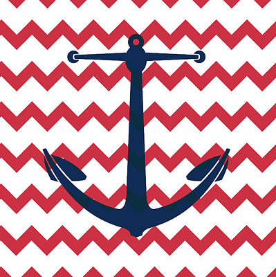 Chevron Mixed Media - Chevron Anchor by Brandi Fitzgerald