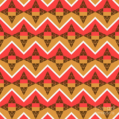 Chevron And Triangles Art Print by Gaspar Avila