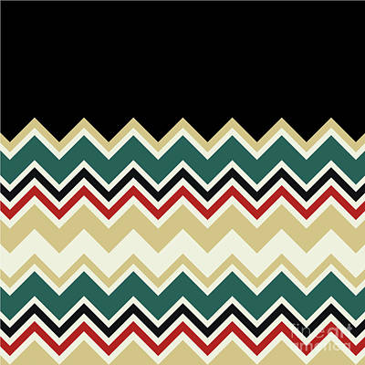 Digital Art - Chevron Beige Forest Green Red Black Zigzag Pattern by Beverly Claire Kaiya