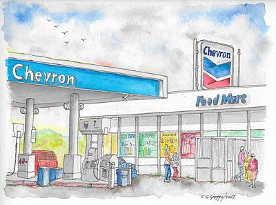 Painting - Chevron Food Mart In Ludlow, California by Carlos G Groppa