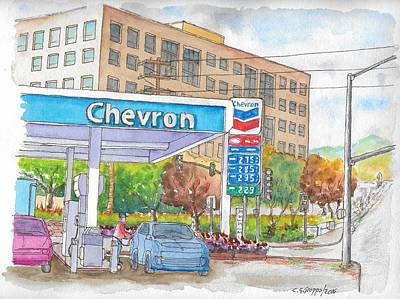 Painting - Chevron Gasoline Station In Olive And Buena Vista, Burbank, California by Carlos G Groppa
