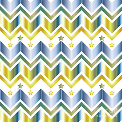 Digital Art - Chevron Metallic Gold Blue Green Gradation Stars Pattern by Beverly Claire Kaiya