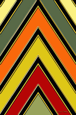 Pattern Digital Art - Chevrons With Color - Vertical by Chuck Staley