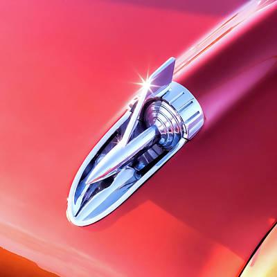 Tri Wall Art - Photograph - Chevy Bel Air Hood Rocket by Jon Woodhams