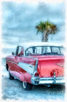 Chevy Belair At The Beach Watercolor Art Print by Edward Fielding
