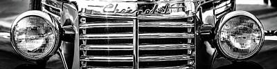 Hdr Photograph - Chevy Chrome Grill Black And White by Geoff Mckay