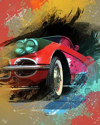 Chevy Corvette Digital Art Art Print by Ron Grafe