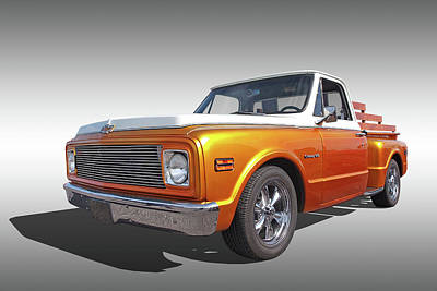 Photograph - Chevy Custom C10 Stepside On Gray by Gill Billington