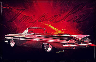 Chevy Impala Convertible For 1959 Art Print
