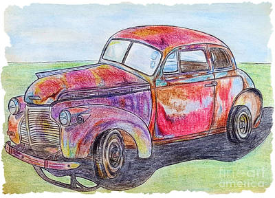 Rusted Cars Drawing - Chevy by Lisa Pfeiffer