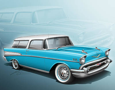 Chevy Nomad Wagon 1957 Art Print by Etienne Carignan