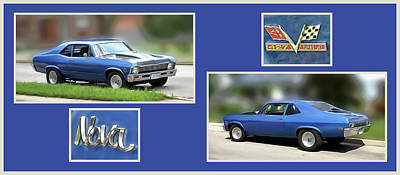 Collage Digital Art - Chevy Nova Horizontal by Leslie Montgomery