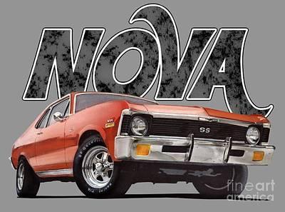 Transportation Digital Art - Chevy Nova by Paul Kuras