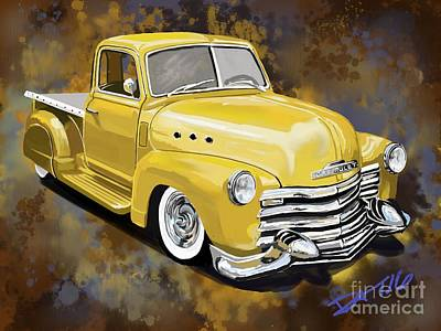 Lowrider Digital Art - Chevy Pickup by Daryl Thompson