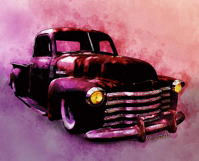 Digital Art - Chevy Rat Rod Pickup Pop Stand by Chas Sinklier