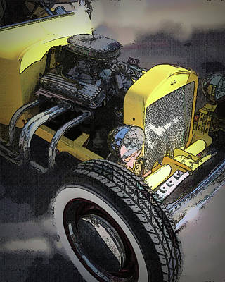 Digital Art - Chevy V8 In A Yellow T Bucket by David King