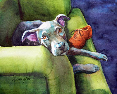 Pittie Painting - Chew Shoe, Dog On Couch by Rachel Armington