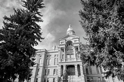 Photograph - Cheyenne Wyoming Capitol Building - Black And White by Gregory Ballos