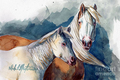 Mustang A Day Challenge Painting - Cheyenne And Tripod by Linda L Martin