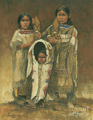 American Indian Children Painting - Cheyenne Cradle Board by Don Langeneckert