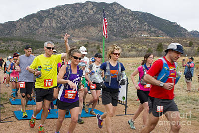Christmas Christopher And Amanda Elwell Rights Managed Images - Cheyenne Mountain Trail Race Start Colorado Springs Royalty-Free Image by Steve Krull