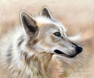 Wolf Portrait Painting - Cheyenne by Sandi Baker