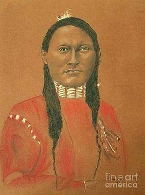 Cheyenne Scout Red Sleeve, 1879 -- Historical Portrait Of Native American Man Original by Jayne Somogy
