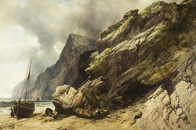 Ashore Painting - Cheyne Beach, Ilfracombe by William West