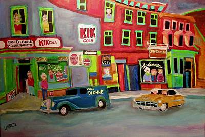 Chevrolet Sedan Delivery Painting - Vintage Chez Dionne Italian Food Montreal by Michael Litvack