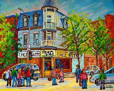 Painting - Chez Vito Rue Fairmount Landmark Architecture Beautiful Summer Scene Montreal 375 Carole Spandau Art by Carole Spandau