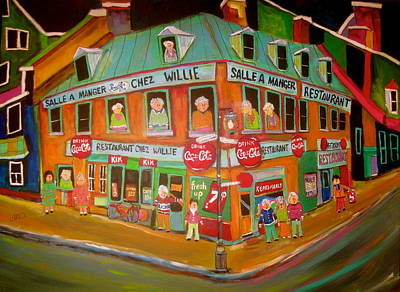 Steinberg Bag Painting - Chez Willie St.paul East by Michael Litvack