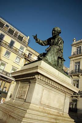 Photograph - Chiado Square Statue by Carlos Caetano