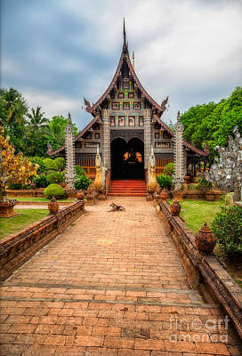 Dogs Digital Art - Chiang Mai Temple by Adrian Evans