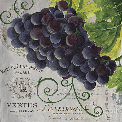 Grape Wall Art - Painting - Vins De Champagne 2 by Debbie DeWitt