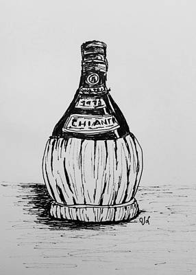 Drawing - Chianti Bottle by Victoria Lakes