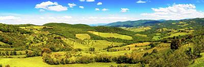 Chianti Hills Photograph - Chianti Rolling Hillside Panorama by Susan Schmitz