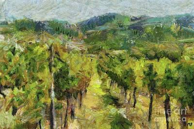 Tuscany Vineyard Oil Painting - Chianti Vineyards by Dragica Micki Fortuna