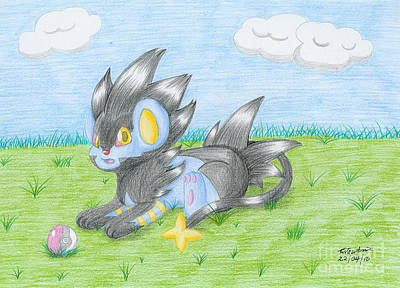 Shinx Drawing - Chibi Luxray by Trudell Newton