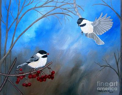 Painting - Chickadees  by Tracey Goodwin
