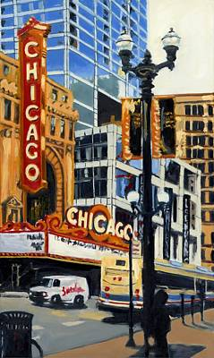 Painting - Chicago - The Chicago Theater by Robert Reeves