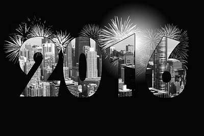 Fireworks Mixed Media - Chicago 2016 New Year by Maria Dryfhout