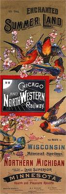 Steampunk - Chicago and Northwestern Railway - Tthe Enchanted Summer Land - Retro travel Poster - Vintage Poster by Studio Grafiikka