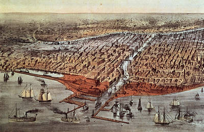 M.j Painting - Chicago As It Was by Currier and Ives