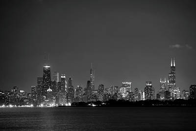 Chicago At Night Bw Original by John Gusky