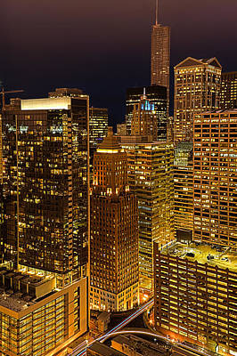 Photograph - Chicago At Night by Joni Eskridge