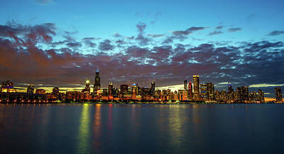 Cities Photograph - Chicago At Night by Med Studio