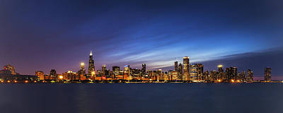 Modern Poster Photograph - Chicago At Twilight by Andrew Soundarajan